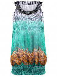Printed Beaded Plus Size Top