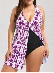 Tie Dye Slit Plus Size Padded One Piece Swimsuit - PURPLISH RED 5XL