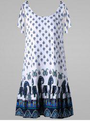 Paisley Tie Shoulder Open Back Dress -
