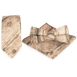 Striation Printing Tie Handkerchief Bowtie Set