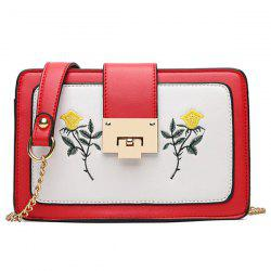 Chain Strap Floral Embroidery Crossbody Bag