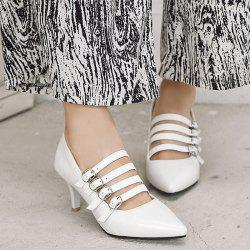 Buckle Straps Patent Leather Pumps - WHITE