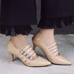 Buckle Straps Patent Leather Pumps