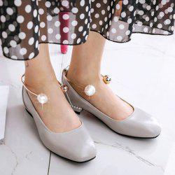 Faux Pearl Square Toe Flat Shoes