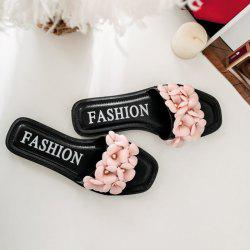 Flat Heel Flowers Slippers - BLACK