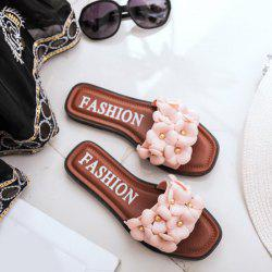 Flat Heel Flowers Slippers - BROWN
