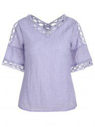 Bell Sleeve Lace Insert Cold Shoulder Blouse