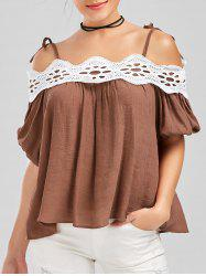 Lace Panel Self Tie Blouse