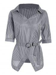 O Ring Belted Pinstripe Blouse
