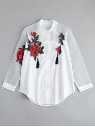 Floral Embroidered Button Up Tassel Shirt - WHITE