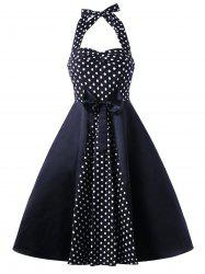 Vintage Halter Polka Dot Bowknot Flare Dress - Polka Dot