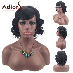Adiors Oblique Bang Short Layered Shaggy Curly Synthetic Wig