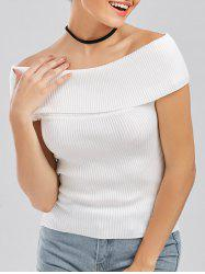 Off The Shoulder Knit Ribbed Tee -