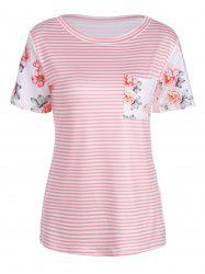 Rose and Stripe Print Short Sleeve T-Shirt