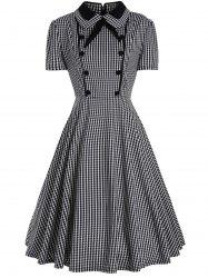 Plus Size A Line Plaid Midi Dress -