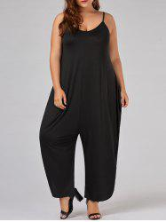 Plus Size Spaghetti Strap Baggy Jumpsuit - BLACK