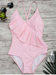 Flounce V Neck One Piece Swimsuit - PINK