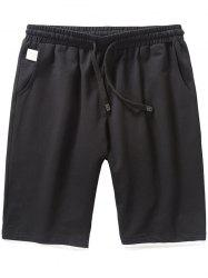 Drawstring Two Tone Casual Shorts - BLACK