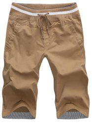 Pockets Drawstring Bermuda Shorts - KHAKI