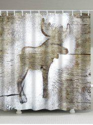 Unique Plank Deer Print Fabric Shower Curtain