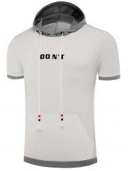 Color Block Panel Hooded Graphic Appliques T-shirt
