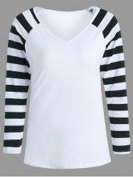 V Neck Raglan Sleeve Striped Shirt - Blanc