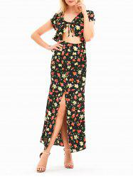 Open Front High Slit Floral Maxi Dress