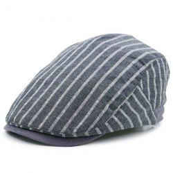 Vintage Striped Embellished Flat Newsboy Hat - GRAY