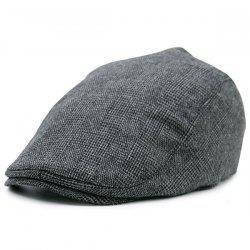 Dense Checked Vintage Flat Hat - PEARL DARK GREY