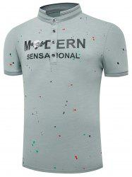 Rib Panel Stand Collar Graphic Print Splatter Paint T-shirt
