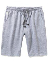 Drawstring Two Tone Casual Shorts - LIGHT GRAY