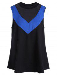 Two Tone Mesh Trim Sleeveless Plus Size Top