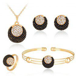 Circle Moon Necklace Bracelet Earrings and Ring Set