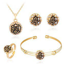 Engraved Rose Necklace Earrings Bracelet and Ring Set