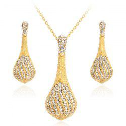 Rhinestoned Pendant Necklace and Earrings Set