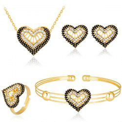 Rhinestone Heart Necklace Earrings Bracelet and Ring Set
