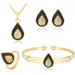 Rhinestone Teardrop Necklace Earrings Bracelet and Ring Set
