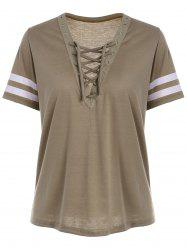 Grommet Lace Up Striped T Shirt