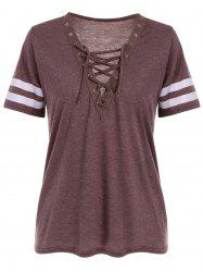 Grommet Lace Up Striped T Shirt - BRICK-RED