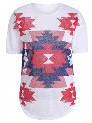 Casual Geometric Print Knit T Shirt