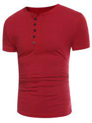Short Sleeve Half Buttons Panel Design T-shirt -