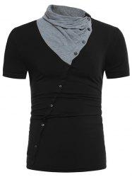 Cowl Neck Oblique Buttons Color Block Panel T-shirt