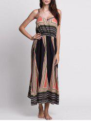 Casual Bohemian Print Slip Long Summer Dress - COLORMIX