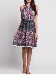 Lace Trim Paisley Halter Neck Summer Dress