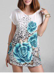 Rose Print Mini Shift Dress