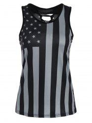 Lace-up Patriotic American Flag Print Tank Top