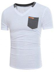 Color Block Panel V Neck Embellished Pocket T-shirt