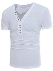 V Neck Color Block Panel Buttons Design T-shirt