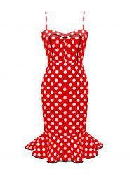 Spaghetti Strap Polka Dot Mermaid Cocktail Dres