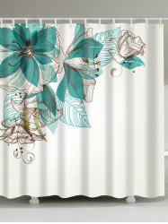 Concise Floral Extra Long Fabric Shower Curtain - WHITE